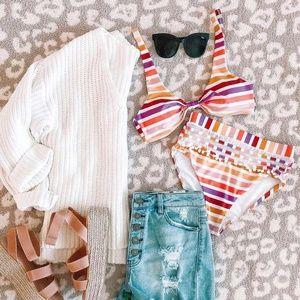 Striped High Waisted Bikini